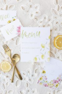 Wedding stationery design - menu and placecards with citrus elements