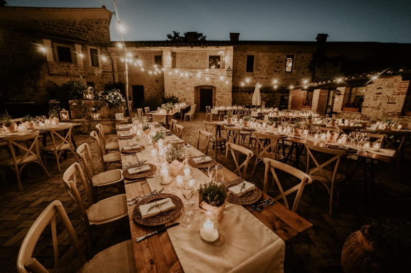 Outdoor dinner with rustic design table setting