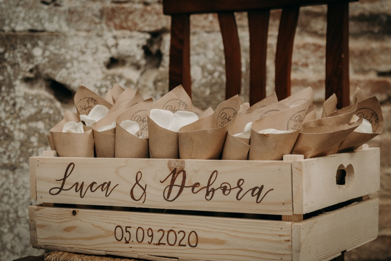 Wooden box to hold wedding confetti made of petals
