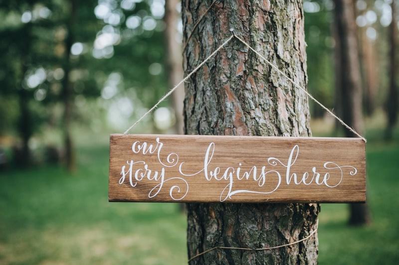 Boho wedding sign - ceremony is here
